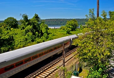 Commuter railroad train on the Hudson-NYC
