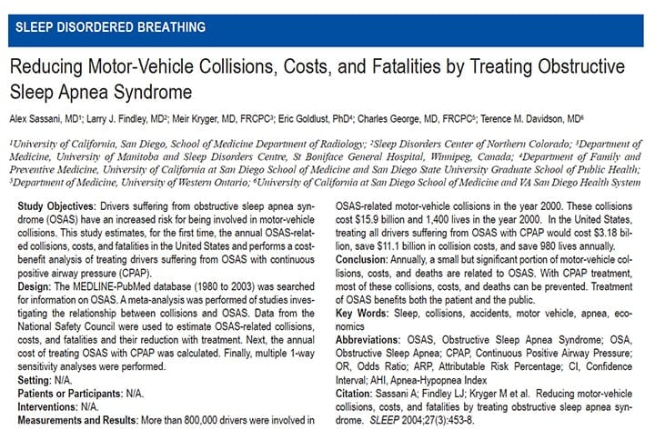Reducing motor-vehicle collisions, costs and fatalities by treating Sleep Apnea